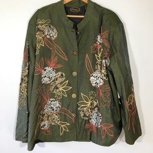 NWT Alex Kim Art to Wear 3X  Green Utility Jacket